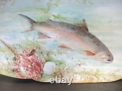 Elegant Antique Porcelain 1890s Hand Painted Limoges Seven Piece Fish Set