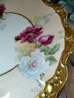 Elegant Limoges Antique Hand Painted And Signed Porcelain 12 Inch Wild Roses