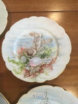 Elite France Limoges Antique Hand Painted Fish Serving Set Ca 1910 -7 Piece Set