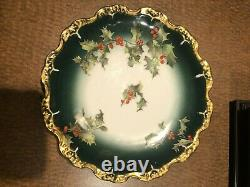 Exceptional Tressemann & Vogt Limoges France 1900's Hand Painted Holly Berry