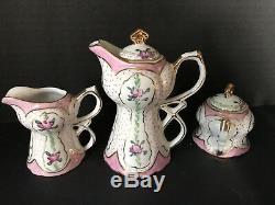 Exquisite Antique Deco LIMOGES Hand Painted Tea Set Pink Rose Child Doll 13 pcs
