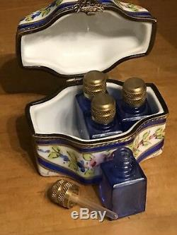 Exquisite Antique Limoges Hand Painted Porcelain Perfume Trinket Box