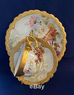 Exquisite Limoges B & H Hand Painted Gold Encrusted Trio Plate Cup Saucer c. 1900