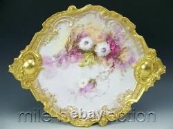 Exquisite Limoges Hand Painted Lilacs Mums With Rococo Gold Handles 15.5 Plaque