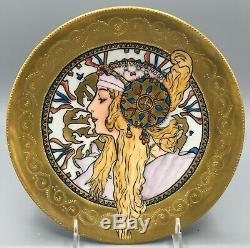 Exrare Alphonse Mucha Limoges Large Plate Art Nouveau Gold Hand Painted Stunning