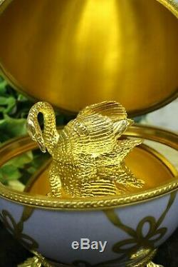 Faberge Limoges Swan Egg Limited Edition No. 56 Hand Painted Great Condition