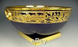 Fancy Sevres France Cobalt Hand Painted Gold Egyptian Centerpiece Footed Bowl
