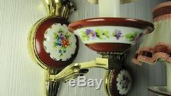 French Antique Lamps Limoges Sevres Pair Hand Painted Porcelain Wall Sconces