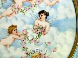 French Antique Oval Limoges Hand-painted Cherubs Angels Clouds Porcelain Plaque