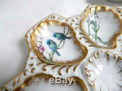 French Antique Oyster Plate Majolica Hand Painted by Guerin et Cie, Paris Limoge
