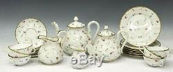 French Limoges parcel gilt porcelain tea set hand-painted signed E. Sch 1940-1949