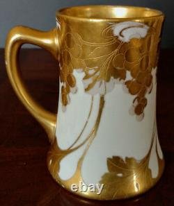 French Porcelain Hand Gilded Unique Rare Mug 1899 by Jean Pouyat, Limoge+
