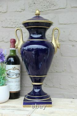French cobalt blue limoges porcelain hand paint floral Vase swan handles