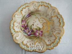 GORGEOUS Pair 9 IN. LIMOGES FRANCE AK/CD Plates HAND PAINTED GOLD GILT Excellent