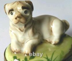 GR Hand Painted Limoges Pug Bulldog Dog Trinket Box