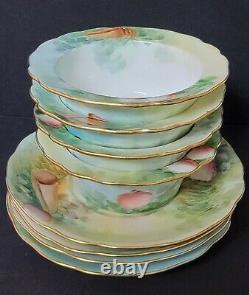 GUERIN Limoges Hand Painted Sea Ocean 4 Ramekins 4 Under Plates Saucers
