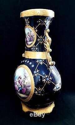 Genuine Vintage Limoges France Large Hand Painted Antique Porcelain Vase Rare