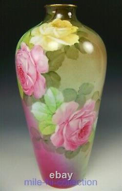 Ginori Italy Hand Painted Roses 13 Vase Artist Signed