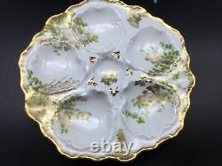 Goegeous TV Limoges Hand Painted Oyster Plate 22K Gold Paint C 1900