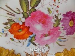 Gorgeous Antique 19th C Paris Porcelain Hand Painted Pink Roses Tray Embossed