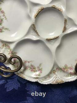 Gorgeous Antique Hand Painted Theo Haviland Limoges Oyster Plate France