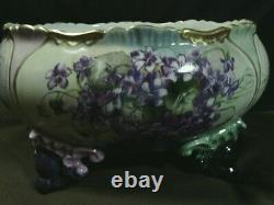 Gorgeous Antique Limoges France Porcelain Hand Painted Large Floral Footed Bowl