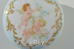 Gorgeous Antique T &v Limoges Hand Painted Powder Jar Dresser Tray Angels France