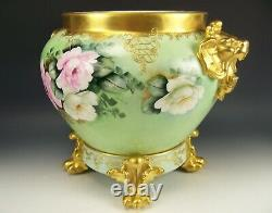 Gorgeous Limoges Handpainted Roses Raised 14 Jardiniere With Plinth Gold Signed