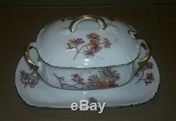 HUGE LIMOGES SET D & C China FRANCE HAND PAINTED FLOWERS GOLD RIM Plate Bowl