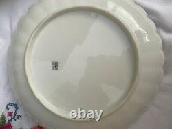 H & C Limoges Hand Painted 9 Scalloped Edge Gilded Plates & Platter + Gravy Boat