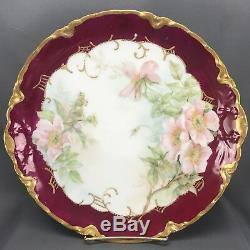 Hand Painted Artist Signed Haviland & Co Limoges Pink Poppies & Gold 11 Charger