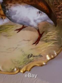 Hand Painted Game Bird 11.5 Charger Plate Coronet Limoges France SIGNED