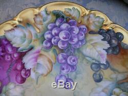 Hand Painted Grapes PT Bavaria Tirschenreuth Germany, 14 ¼ Inch Charger Signed