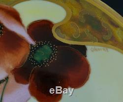 Hand Painted Pickard Poppy & Daisy Signed Osborn Compote