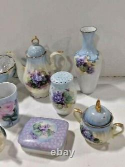 Hand Painted with Violets Porcelain Set