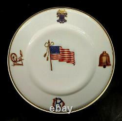 Handpainted Limoges France Daughters of the Revolution Flag Plate 1891 mAAA