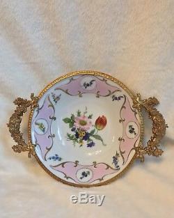 Handpainted Pink LIMOGES 6 Bowl, + Brass Handles = 8.5