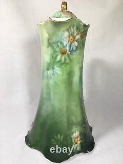 Haviland France Handpainted Green CHOCOLATE POT with White Chrysanthemums c1907