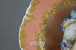 Haviland Limoges Hand Painted Marie Antoinette Pink & Raised Gold Portrait Plate