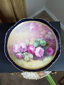 Haviland Limoges Hand Painted Roses Compote Signed A. Broussillon Cobalt Blue