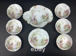 Haviland Limoges Oyster Mussels Seafood 8-Piece Serving Set Hand-Painted Bowls