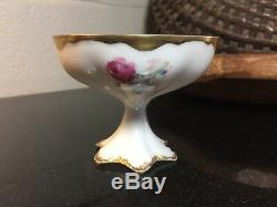 Haviland Limoges PUNCH CUP Hand Painted Pink Roses & Gold Artist Signed HENRY