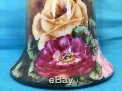 Huge 16 large Hand Painted Studio Porcelain China Vase Limoges style Roses EX