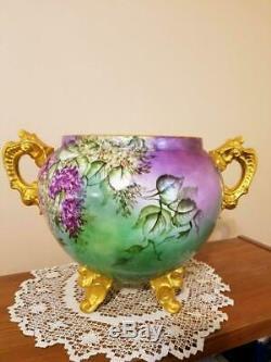 Huge Limoges Hand Painted Lilac Jardiniere