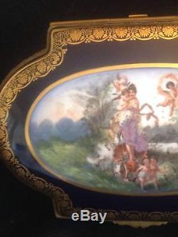 Huge Limoges Handpainted Hinged porcelain Jewelry Box Artist Signed cherubs