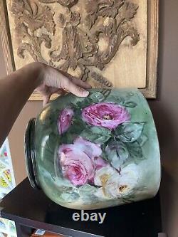 Huge Limoges planter jardiniere flower pot roses hand painted