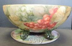 Impressive Antique Porcelain 13 Piece Hand Painted Punch Bowl Cups & Tray
