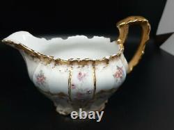 JPL Pouyat Limoges hand painted teapot cream sugar set TINY CHIP inside rim pic7