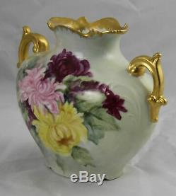 JP Jean Pouyat Limoges Hand Painted Vase France 8 x 6-3/4 Excellent