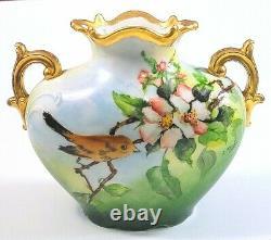 JP Limoges France Antique Hand Painted Wild Rose Bird Handled Vase